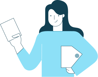 illustration of person presenting a paper