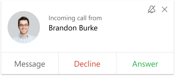 incoming call interface example
