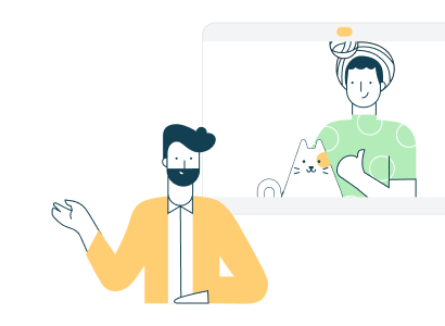 Illustration of remote team meeting