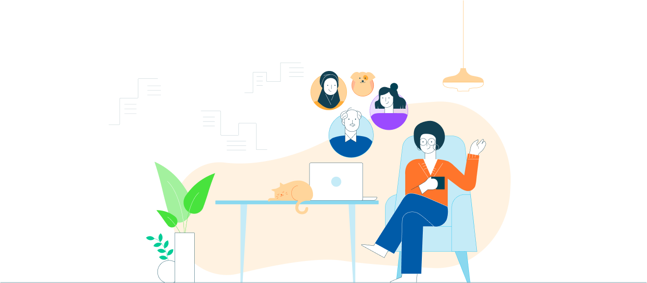 Illustration of people o virtual meeting