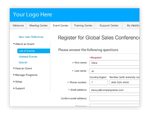 Cisco WebEx Event Center Webinars and online presentations – Make a Signup Sheet