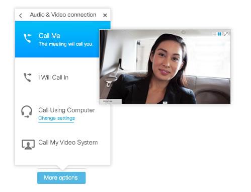 Cisco WebEx Call Me dialog